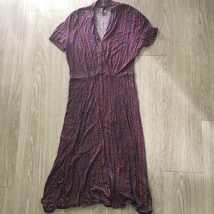 Topshop Vneck Maxi Dress 10 Print Flowy Aline Boho